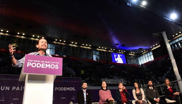 Pablo Iglesias durante el acto político que ha protagonizado en la Caja Mágica de Madrid.