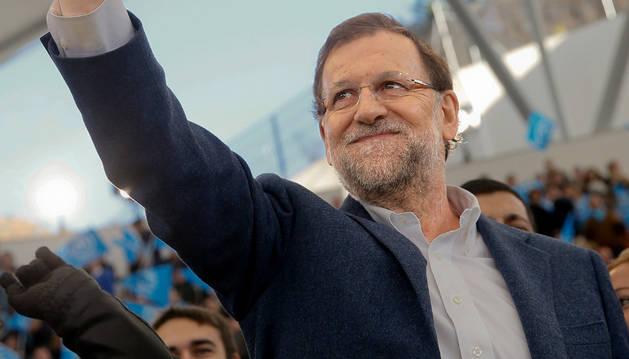 Mariano Rajoy durante el acto central de su partido celebrado en la plaza de toros de Las Rozas.