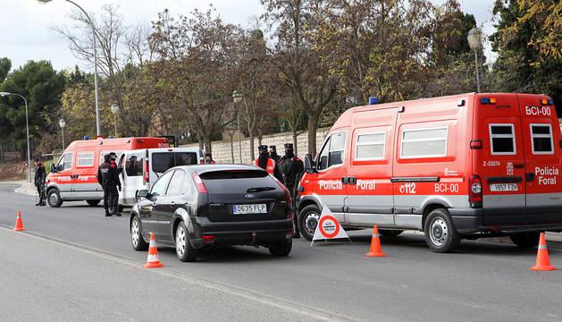 Control de la Policía Foral en Tudela.