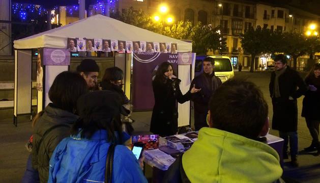 Ione Belarra, en un acto de Podemos en Tafalla.