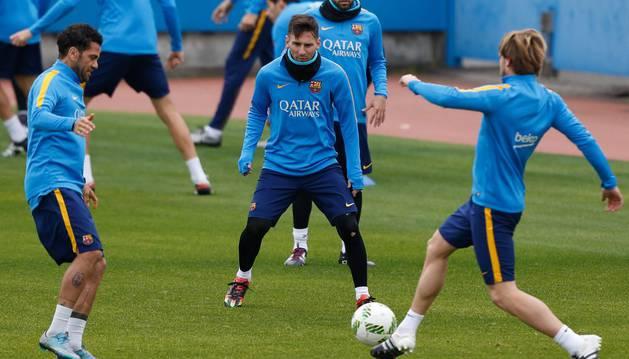 Messi, en el entrenamiento del Barcelona.