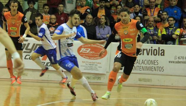 Imagen del partido disputado este sábado en el Ciudad de Tudela.