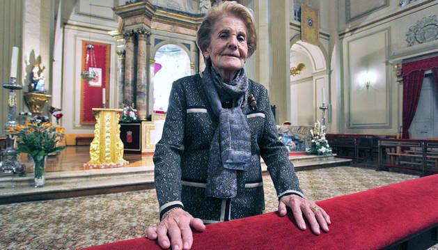Tere Aldaz Donamaría en la capilla de San Fermín.