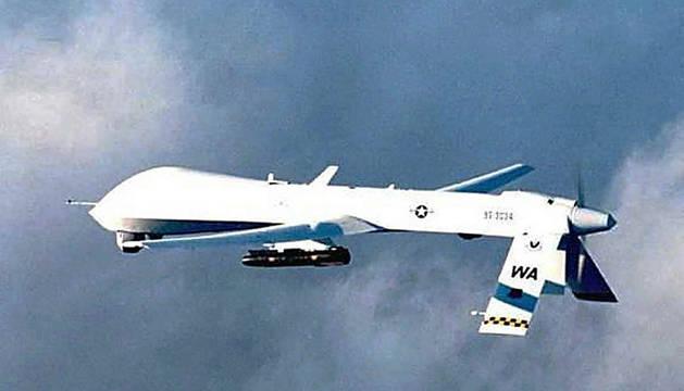 Avión de la Fueras Aérea de EE UU cargado con misiles 'Hellfire'.