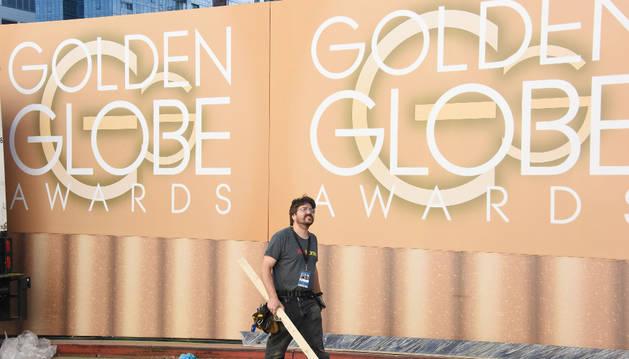 Preparativos de la gala de los Globos de Oro 2016.