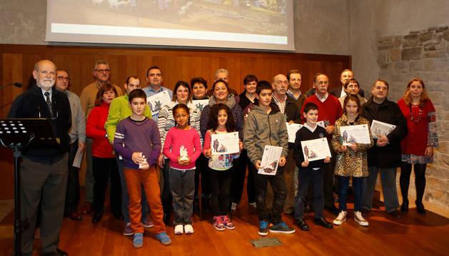 Los belenistas premiados el viernes en el Civivox Condestable de Pamplona.