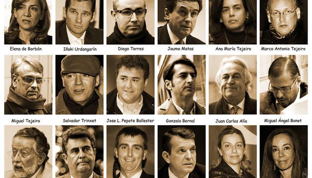 18 ACUSADOS EN EL CASO NÓOS. La infanta Cristina, Iñaki Urdangarin, y los otros 16 acusados en el juicio del caso Nóos.