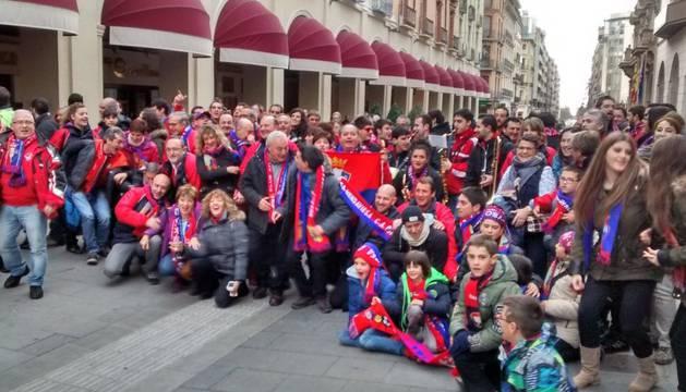 Aficionados de Osasuna en Huesca.