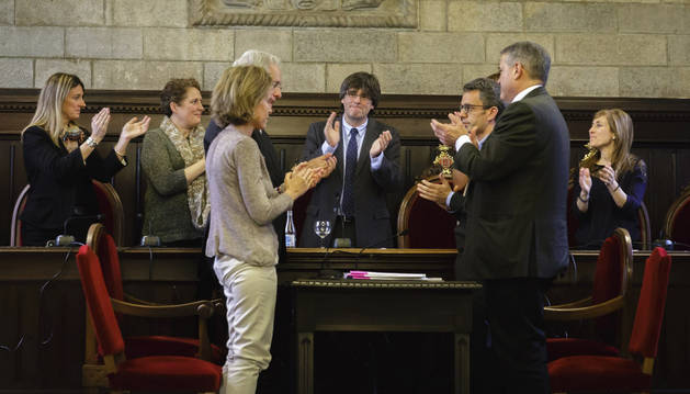 Carles Puigdemont en el acto de renuncia a la alcaldía de Girona.