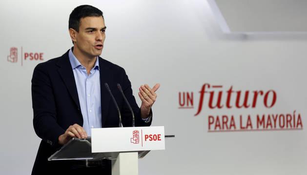 El líder del PSOE, Pedro Sánchez, tras la reunión de la Ejecutiva Federal del partido.
