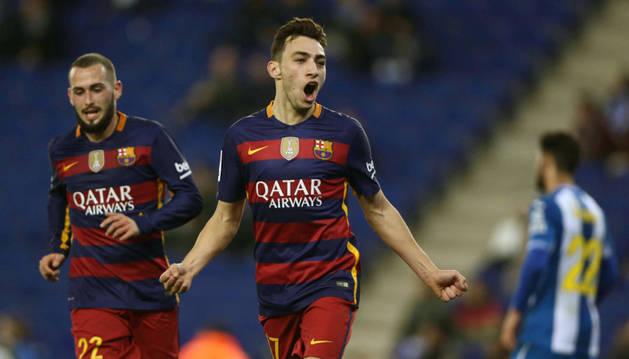 Munir celebra un gol contra el Espanyol.
