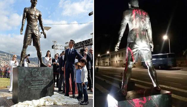 La estatua, antes y después del acto vandálico.