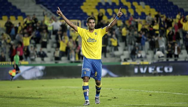 Willian José celebra un gol contra el Eibar.
