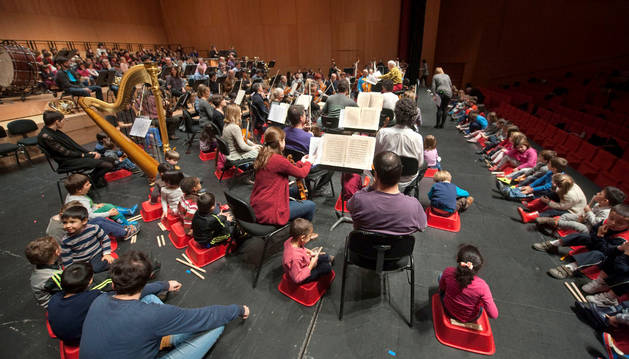 Momento de la sesión musical de la OSN con niños y niñas de Educación Infantil.