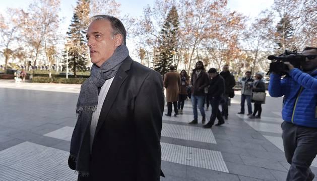 Javier Tebas, este lunes en Valencia.