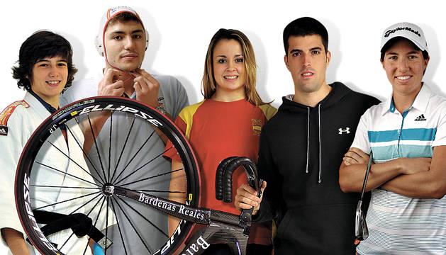 Jaione Ekisoain (judo), Alberto Munárriz (waterpolo), Aintzane Gorría (lucha), Juan Peralta (ciclismo) y Carlota Ciganda (golf), con opciones.