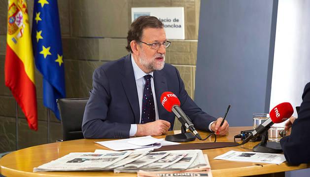 Rajoy, durante la entrevista de este lunes en RNE.