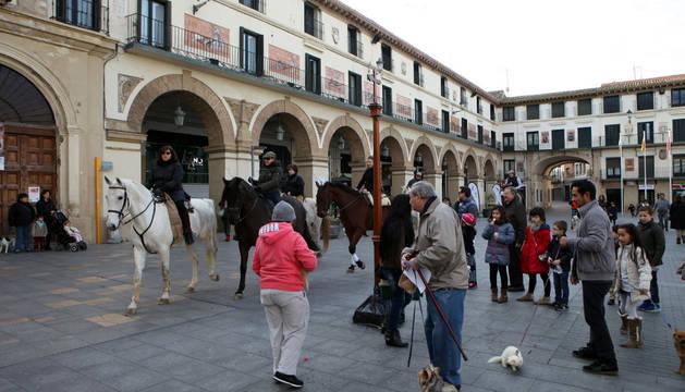 Varios caballos, un perro y un hurón dan tres vueltas a la cruz que se instaló en la plaza de los Fueros.