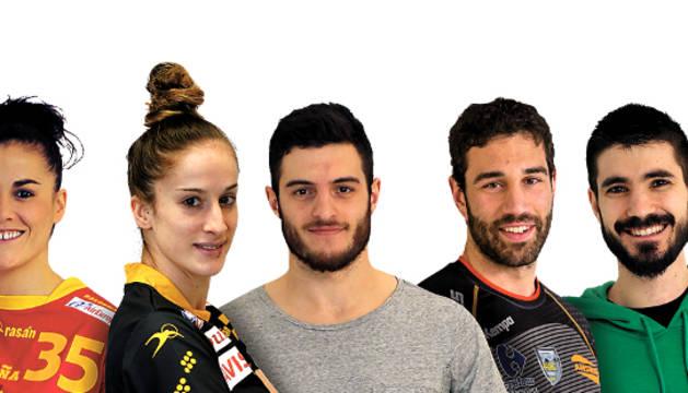 De izquierda a derecha, Naiara Egozkue, Nerea Pena, Niko Mindegia, Iosu Goñi y Eduardo Gurbindo.