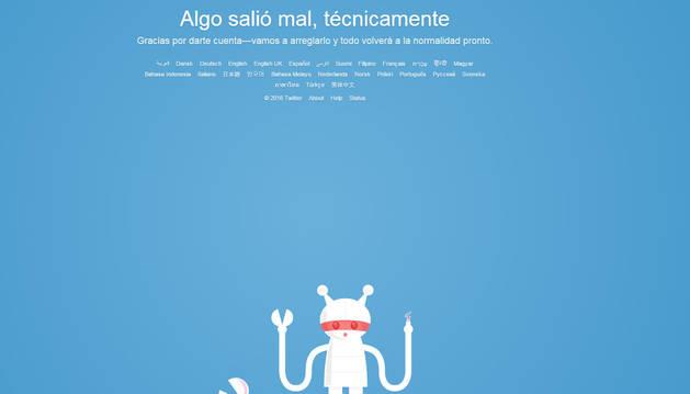 Mensaje de error al intentar acceder a Twitter este martes.
