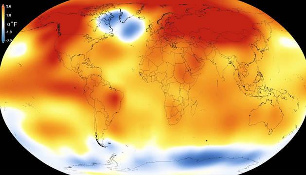 Imagen que muestra en naranja los mayores aumentos de temperatura.