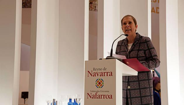 Uxue Barkos, durante su intervención en el Día de Navarra en Fitur.