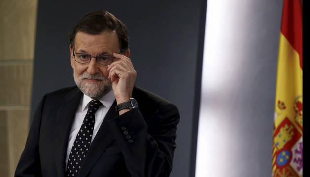 Mariano Rajoy durante la rueda de prensa que ha ofrecido en La Moncloa.