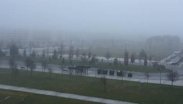 Bancos de niebla a primera hora del día en Navarra