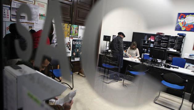 Oficina del Servicio de Atención al Ciudadano (SAC) de Tudela ubicada en la Casa Consistorial.
