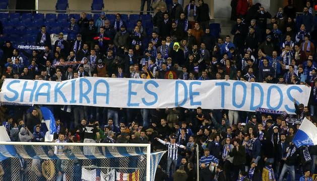 Pancarta de los aficionados del Espanyol.
