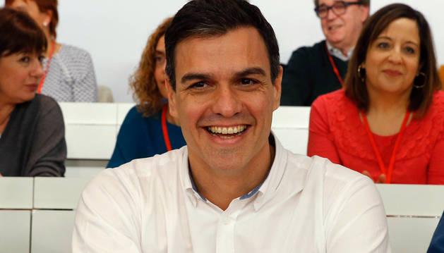 El secretario general del PSOE, Pedro Sánchez, durante la reunión del Comité Federal del PSOE.