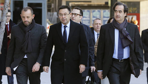 Rosell, Bartomeu y Mestre, a su llegada a la Audiencia Nacional.