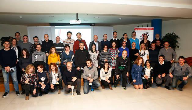 Los premiados en la gala de ayer del Circuito Navarro de Running en la residencia Fuerte del Príncipe de Pamplona.