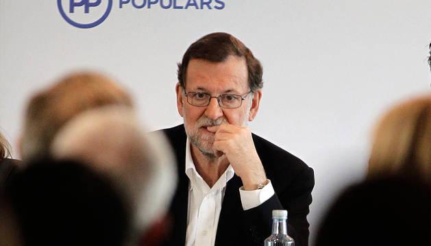 Rajoy, al inicio de la junta directiva de los populares catalanes.