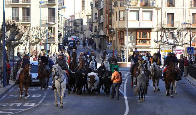 Los jinetes guiando al ganado por las calles de Tafalla.