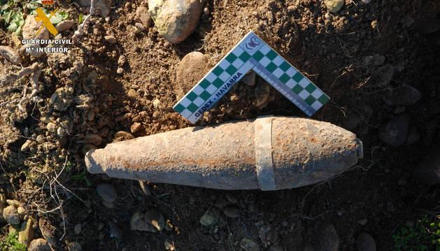 La granada de mortero 'Valero' de 81mm hallada en Cadreita.