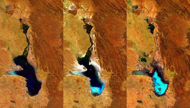 Fotografía facilitada por la Agencia Espacial Europea de la evaporación del lago.