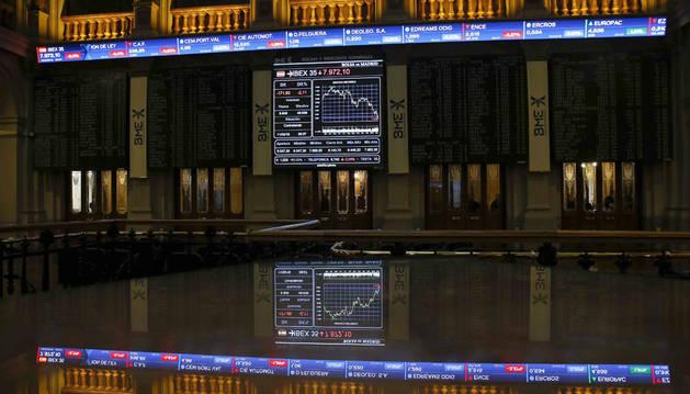 A las 13.30 horas, el IBEX 35 restaba 297,50 puntos, exactamente un 3,65%.
