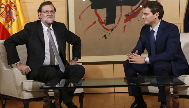 Rajoy y Rivera, reunidos en el Congreso.