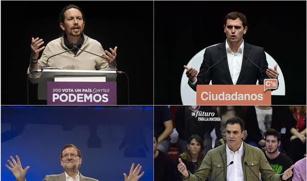 Iglesias, Rivera, Rajoy y Sánchez.
