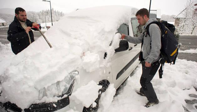 Temporal de nieve en el norte y centro de Navarra.