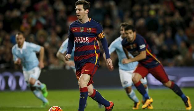 Asistencia de Lionel Messi a Luis Suárez.