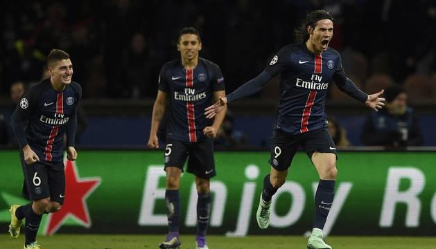 Cavani celebra el segundo gol del PSG.