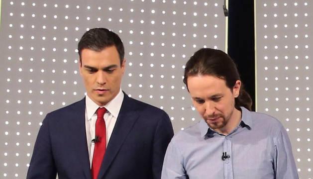 Pedro Sánchez y Pablo Iglesias, durante el debate.