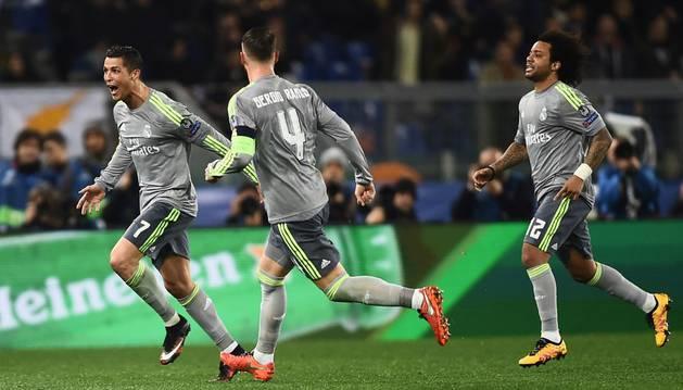 Cristiano celebra su gol a la Roma.