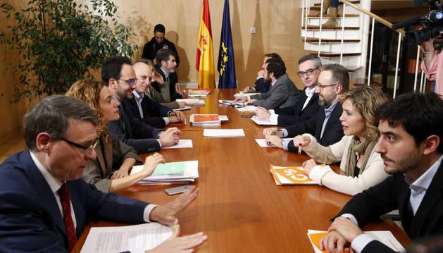 Reunión de los equipos negociadores del PSOE y Ciudadanos de cara a la investidura de Pedro Sánchez.