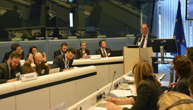 Javier Tebas, en la Comisión Europea.