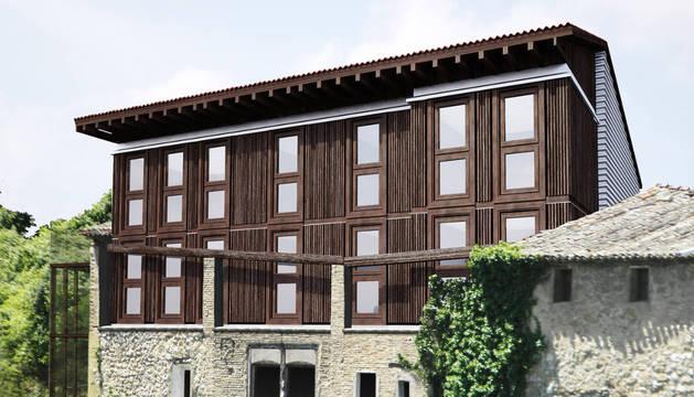 Recreación de cómo se plantea la fachadas del albergue.
