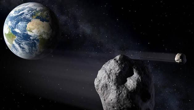 Recreación de la aproximación de un asteroide.