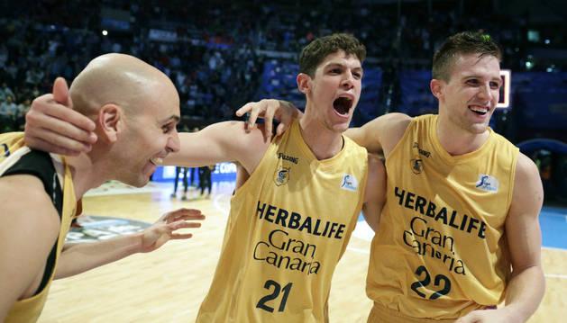Los jugadores del Gran Canaria festejan su clasificación para la final de Copa.